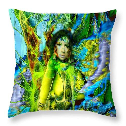 Titania Throw Pillow featuring the digital art Titania-midsummers Night Dream by Seth Weaver