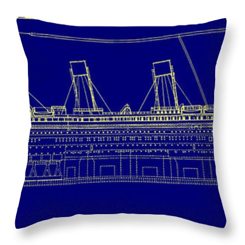 Titanic Blueprint Throw Pillow For Sale By Bill Cannon