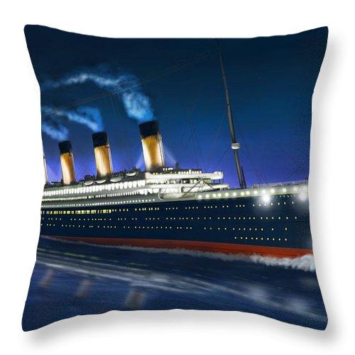 Titanic Throw Pillow featuring the digital art Titanic by Omar Rubio