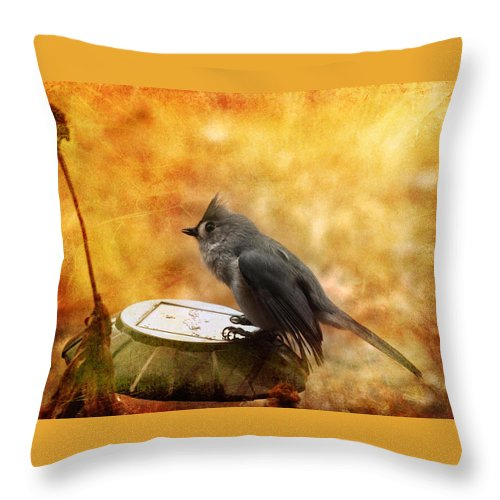 Titmouse Throw Pillow featuring the photograph Titmouse In The Rain by Karen Beasley