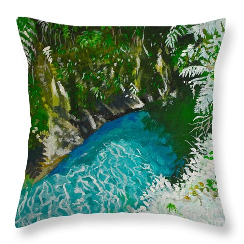 River Throw Pillow featuring the painting Titou Gourge by Kelvin James