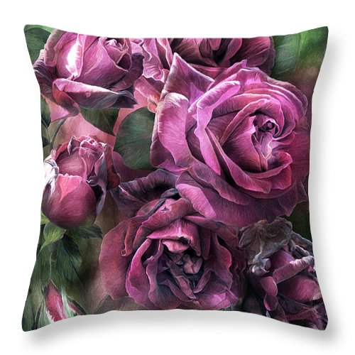 Rose Throw Pillow featuring the mixed media To Be Loved - Mauve Rose by Carol Cavalaris