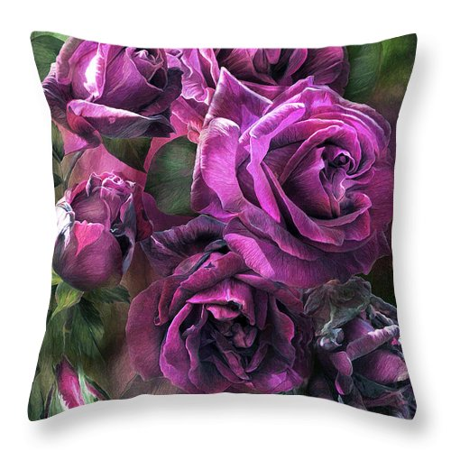 Rose Throw Pillow featuring the mixed media To Be Loved - Purple Rose by Carol Cavalaris