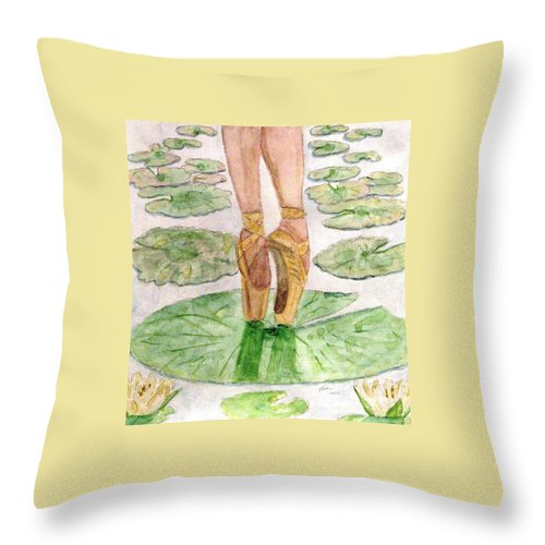 Ballet Slippers Throw Pillow featuring the painting To Dance by Angela Davies