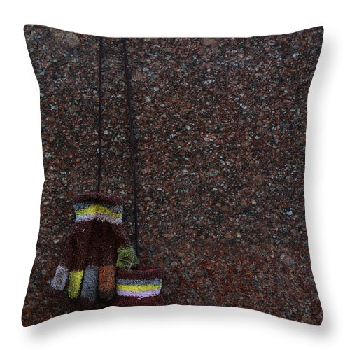 Gloves Throw Pillow featuring the photograph To Keep Your Hands Warm by Jaroslaw Blaminsky