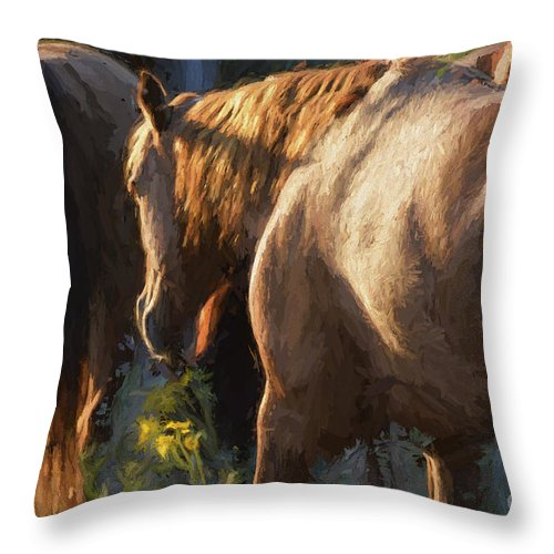 Horses Throw Pillow featuring the photograph To The Barn by Shannon Story