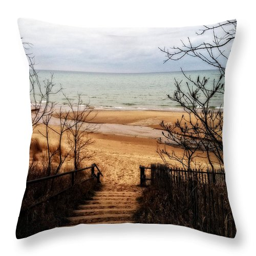 Michigan Throw Pillow featuring the photograph To The Beach by Michelle Calkins
