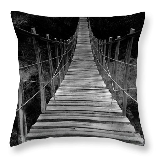 Bridge Throw Pillow featuring the photograph To The Other Side by Edgar Laureano