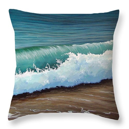 Wave On A Florida Beach Throw Pillow featuring the painting To The Shore by Hunter Jay