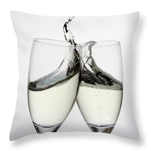Alcohol Throw Pillow featuring the photograph Toasting With Two Glasses Of Champagne by Dual Dual