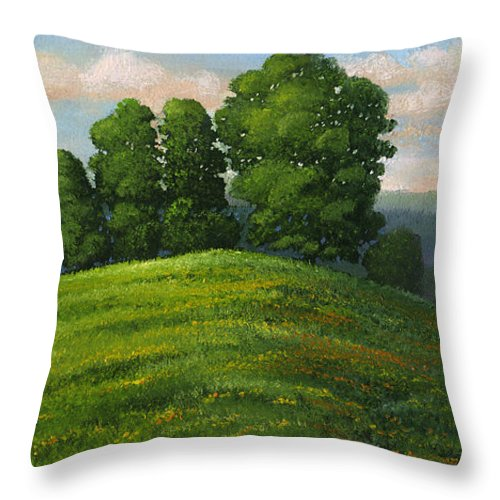 Landscape Throw Pillow featuring the painting Toboggan Hill by Frank Wilson