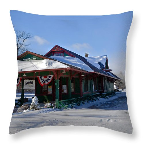 Station Throw Pillow featuring the photograph Tobyhanna Train Station by Gary Keesler