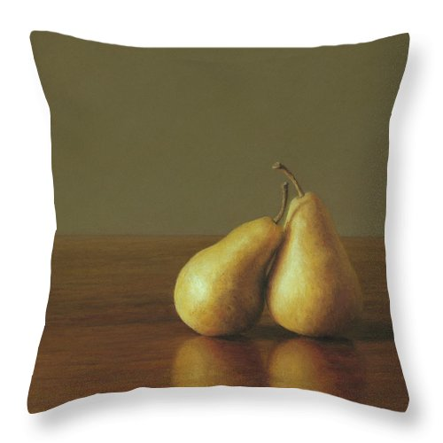 Pears Throw Pillow featuring the painting Together by Barbara Groff