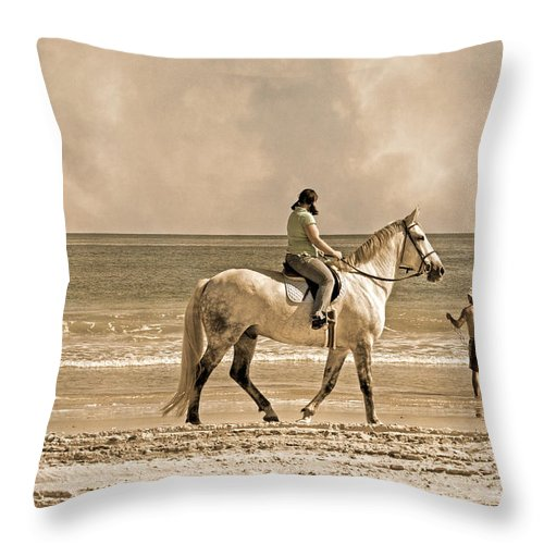 Horse Throw Pillow featuring the photograph Together We Go by Betsy Knapp