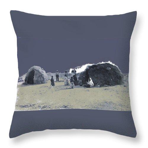 Tohono O'odham Dwelling Circa 1885-2013 Throw Pillow featuring the photograph Tohono O'odham Dwelling Circa 1885-2013 by David Lee Guss