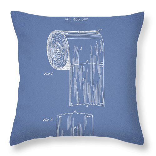 Toilet Throw Pillow featuring the digital art Toilet Paper Roll Patent Drawing From 1891 - Light Blue by Aged Pixel