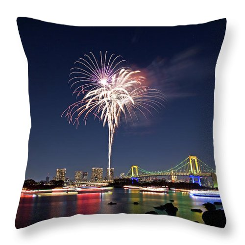 Firework Display Throw Pillow featuring the photograph Tokyo Bay Fireworks by Photography By Zhangxun