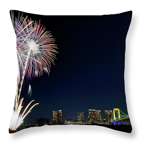 Firework Display Throw Pillow featuring the photograph Tokyo Fireworks by Vladimir Zakharov