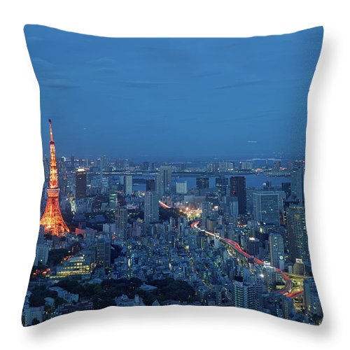 Tokyo Tower Throw Pillow featuring the photograph Tokyo Skyline With Tokyo Tower Landmark by Yat Lee