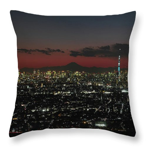 Tokyo Tower Throw Pillow featuring the photograph Tokyo Skytree, Fuji, And Tokyo Tower by I Love Photo And Apple.