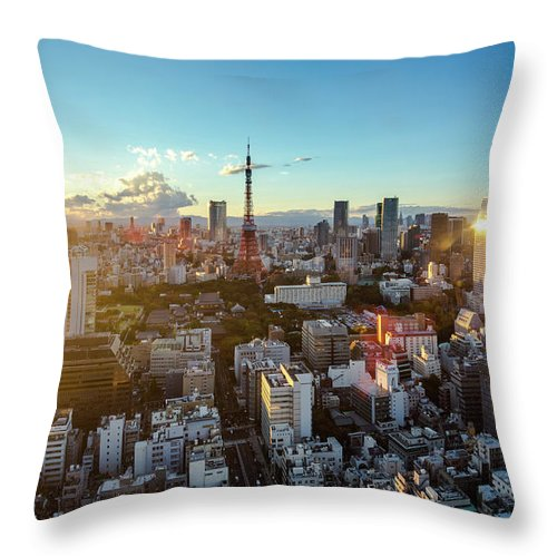 Tokyo Tower Throw Pillow featuring the photograph Tokyo Tower After Raining by Panithan Fakseemuang