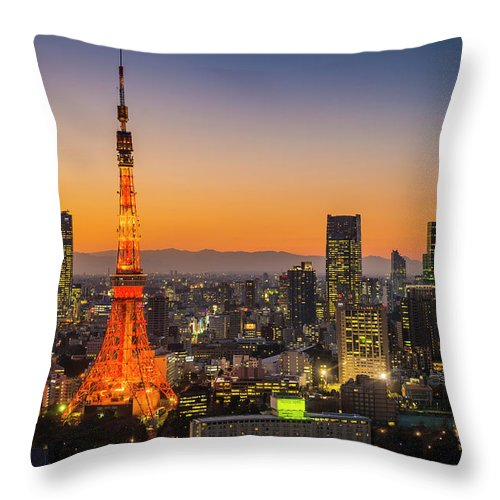 Tokyo Tower Throw Pillow featuring the photograph Tokyo Tower Skyscrapers Neon Futuristic by Fotovoyager