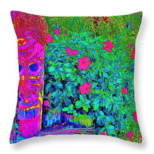 Keri West Throw Pillow featuring the photograph Tom Tiki by Keri West