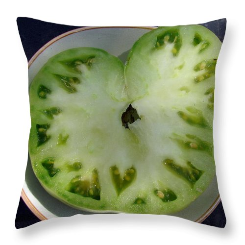 Green Tomato Throw Pillow featuring the photograph Tomato Hearts by Cassie Peters