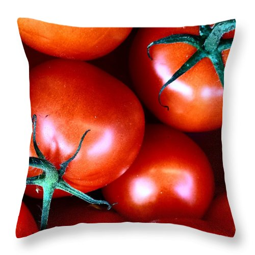 #food #foodporn #yum #instafood #tagsforlikes #yummy #amazing #instagood #photooftheday #sweet #dinner #lunch #breakfast #fresh #tasty #foodie #delish #delicious #eating #foodpic #foodpics #eat #hungry #foodgasm #foods Throw Pillow featuring the photograph Tomatoes by J Love