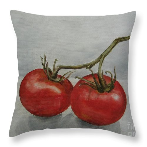 Oil Throw Pillow featuring the painting Tomatoes On Vine by Jindra Noewi