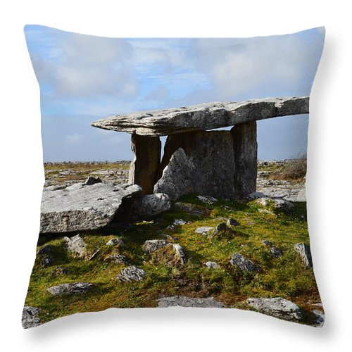 Poulnabrone Portal Tomb Throw Pillow featuring the photograph Tomb In Ireland by DejaVu Designs