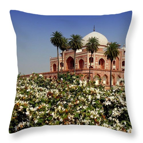 Tranquility Throw Pillow featuring the photograph Tomb Of Humayun by Smit Sandhir
