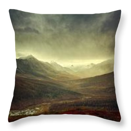 Winter Throw Pillow featuring the photograph Tombstone Range Seasons by Priska Wettstein