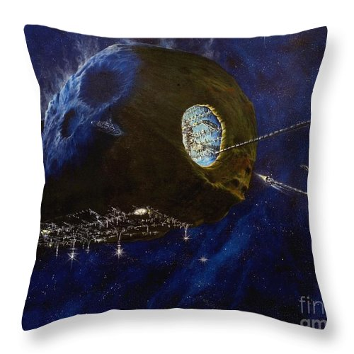 Oil Throw Pillow featuring the painting Tomorrow by Murphy Elliott