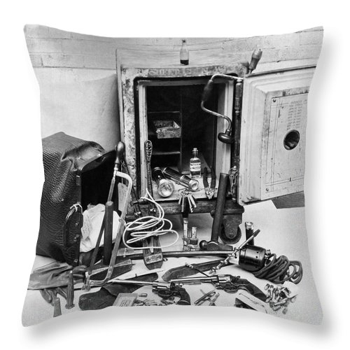 1921 Throw Pillow featuring the photograph Tools Of The Safe Cracker by Underwood Archives