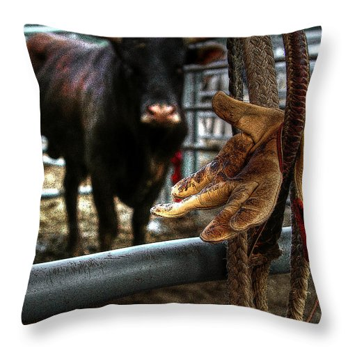 Rodeo Throw Pillow featuring the photograph Tools Of The Trade by Craig Burgwardt