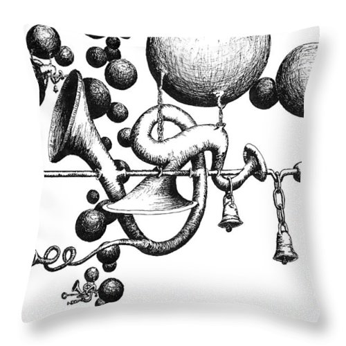 Ball Throw Pillow featuring the drawing Toot Toot by Sam Sidders