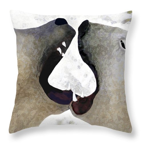 Polar Bears Throw Pillow featuring the digital art Toothy Bears by Alice Ramirez