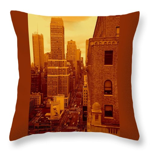 Manhattan Posters And Prints Throw Pillow featuring the photograph Top Of Manhattan by Monique's Fine Art