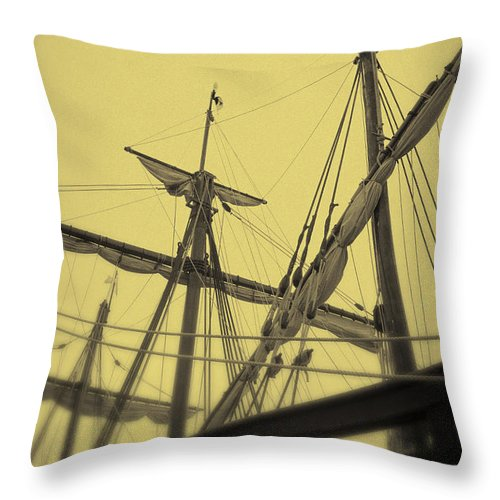 Ship Throw Pillow featuring the photograph Top Of Old Ship by Birgit Tyrrell
