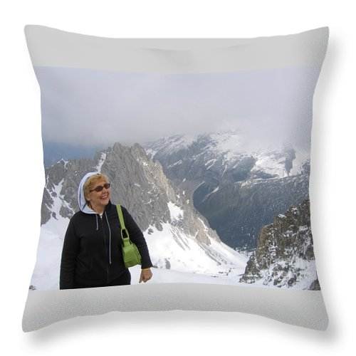 Mountaintop Throw Pillow featuring the photograph Top Of The World by Ann Horn