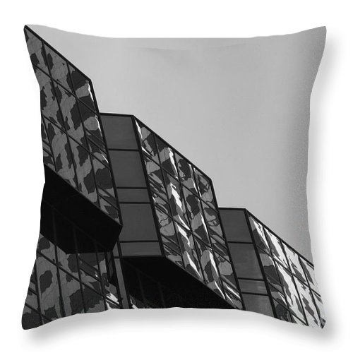 Business City Reflection Windows Black And White Fine Art Modern Art Throw Pillow featuring the photograph Top Reflection by AR Annahita