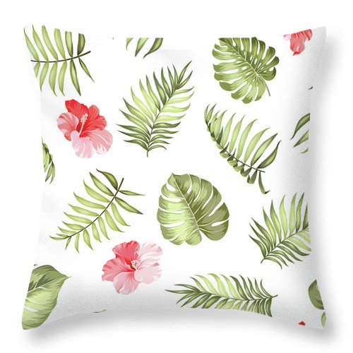 Tropical Rainforest Throw Pillow featuring the digital art Topical Palm Leaves Pattern by Kotkoa