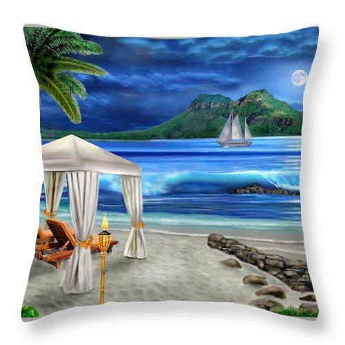 Tropical Paradise Throw Pillow featuring the digital art Tropical Paradise by Glenn Holbrook