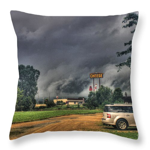 Tornado Throw Pillow featuring the photograph Tornado Over Madison 3 by Tommy Anderson