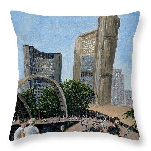 Toronto Throw Pillow featuring the painting Toronto City Hall by Ian MacDonald
