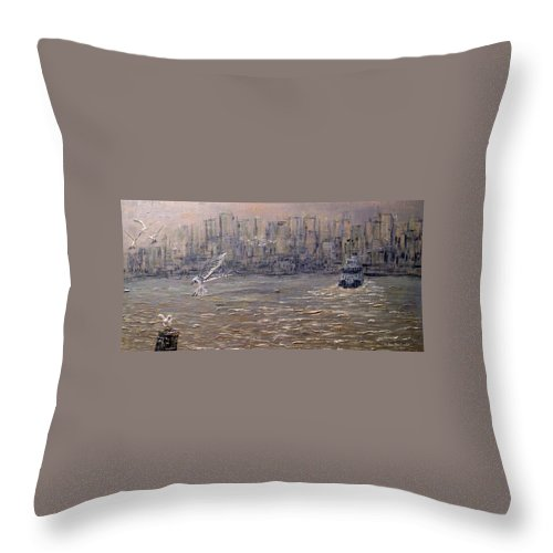 Toronto Throw Pillow featuring the painting Toronto Harbor Morning by Ian MacDonald