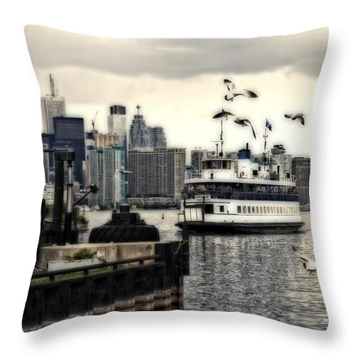 Blue Throw Pillow featuring the photograph Toronto Island Ferry by Jim Finch