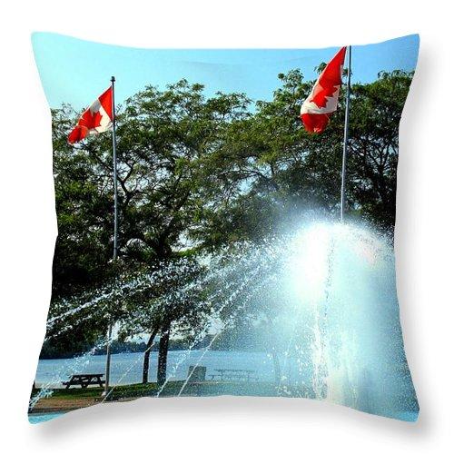 Toronto Throw Pillow featuring the photograph Toronto Island Fountain by Ian MacDonald