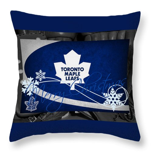 Maple Leafs Throw Pillow featuring the photograph Toronto Maple Leafs Christmas by Joe Hamilton